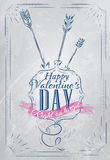 Poster Valentines Day blue. Poster Valentines Day with blue chalk on the board shown with a match lettering Happy Valentines Day Stock Photo