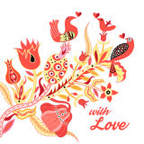 Poster for Valentines Day. Festive beautiful poster for Valentines Day with a variety of plants and birds Royalty Free Stock Images