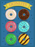 Poster vector with colorful donuts Royalty Free Stock Photo