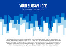 Poster vector template with blue city skyline Stock Photo