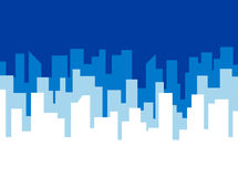 Poster vector template with blue city skyline Stock Image