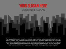 Poster vector template with dark city skyline Royalty Free Stock Images