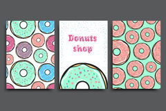 Poster vector template with donuts. Advertising for bakery shop or cafe. Sweet background. Stock Photography