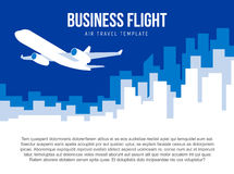 Poster vector template with plane taking off and city skyline Royalty Free Stock Image