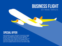 Poster vector template with plane taking off Royalty Free Stock Photography