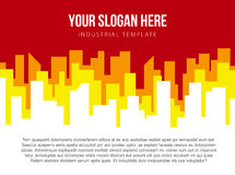Poster vector template with red and orange city skyline Stock Photos