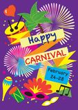 Poster-Vektorsatz des Karnevals festlicher Feuerwerke, Maskeradesymbole, Festival abstraktes buntes backgrou Stockfotos