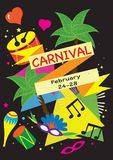 Poster-Vektorsatz des Karnevals festlicher Konfettifeuerwerke, Maskeradesymbole, Festival abstraktes buntes backgrou Stockfotos