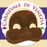 Traditional Arlecchino Mask Over a Button for Venice Carnival, Vector Illustration Stock Images