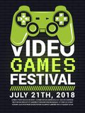 Poster of video game festival. Cyber sport concept with gamepad picture. Vector entertainment gaming, tournament play illustration Royalty Free Stock Photos