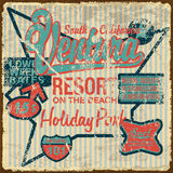 Poster vintage 15. California retro poster holiday resort on the beach illustrations vector royalty free illustration