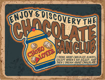 Poster vintage 45. Vintage Chocolate Label. Grunge style fan club Royalty Free Stock Photo