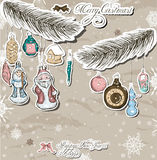 Poster with vintage Christmas decorations. Royalty Free Stock Photos