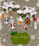 Poster with vintage Christmas decorations. Stock Image