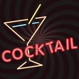 Poster vintage 59. Cocktail retro neon sign, vintage billboard, bright signboard, light banner Stock Photography