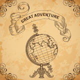 Poster with vintage globe and ribbon. Retro hand drawn vector illustration Great adventure Royalty Free Stock Photo