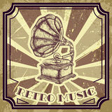 Poster with vintage gramophone. Retro hand drawn vector illustration label retro music Royalty Free Stock Photo