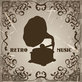 Poster with vintage gramophone. Retro hand drawn vector illustration label retro music Royalty Free Stock Photography