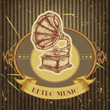 Poster with vintage gramophone. Retro hand drawn vector illustration label retro music Royalty Free Stock Photos