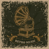 Poster with vintage gramophone. Retro hand drawn vector illustration label retro music Royalty Free Stock Images