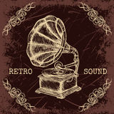 Poster with vintage gramophone. Retro hand drawn vector illustration label retro sound in sketch style Stock Photos