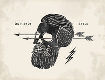 Poster of vintage skull hipster label. Retro old school set for t-shirt print. Vector Illustration. Royalty Free Stock Photo