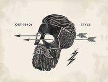 Poster of vintage skull hipster label. Retro old school set for t-shirt print. Vector Illustration. Royalty Free Stock Photo