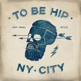 Poster of vintage skull hipster label. Retro old school set. Vector Illustration with typographic for t-shirt prints. Stock Image