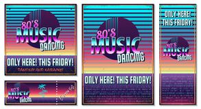 Poster in style 80 s. The poster in vintage style on a retro party banner, invitation, flyer, advertising. Vector illustration of retro disco and dance. Other vector illustration