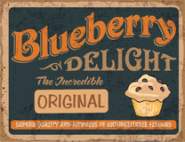 Poster vintage 47. Vector blueberry muffin. Poster in vintage style stock illustration