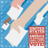 Poster with Voters Hands for American Elections, Vector Illustration Royalty Free Stock Image