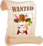 A poster of a wanted bunny Stock Photography