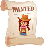A poster of a wanted cowgirl Royalty Free Stock Photo