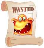 A poster with a wanted monster Stock Photo