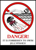 Poster warning of jellyfish Royalty Free Stock Photo