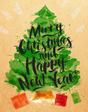 Poster watercolor Christmas tree Stock Image
