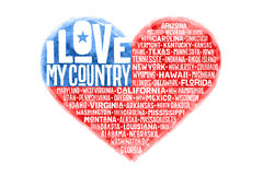 Poster of watercolor heart shape United State America flag. Poster of watercolor heart shape United State of America flag with states and text I love my Country Stock Photography
