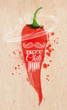 Poster watercolor hot chili pepper. Poster with red watercolor chili pepper lettering hot chili pepper Stock Photos