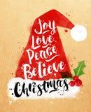Poster watercolor Santa hat Royalty Free Stock Image
