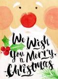Poster watercolor Santa Royalty Free Stock Photos