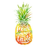 Poster with watercolor silhouette of a pineapple, tagline fresh summer taste. Print t-shirt, graphic element for your. Poster with watercolor silhouette of a Stock Illustration