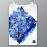 Poster with watercolor stain and doodle graphic Royalty Free Stock Images