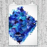Poster with watercolor stain on plaster wall Royalty Free Stock Photos