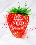 Poster watercolor strawberry. Lettering all you need is strawberry Royalty Free Stock Image