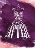 Poster wedding dress violet Stock Images