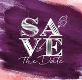 Poster wedding save date violet Stock Image