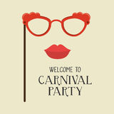 Poster welcome carnival party glasses and woman lips Stock Photos
