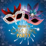 Poster welcome carnival party masks fireworks Royalty Free Stock Photography