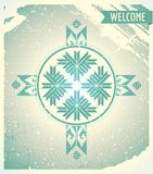 Poster welcome to Belarus with ornament. Retro poster on the old paper with ribbons and ornaments stock illustration