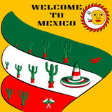 Poster Welcome to Mexico with the image of the Mexican flag, sombrero, spicy chili peppers, maracas and a lot of cacti Royalty Free Stock Image